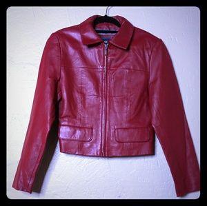 Crimson Red Leather moto Jacket